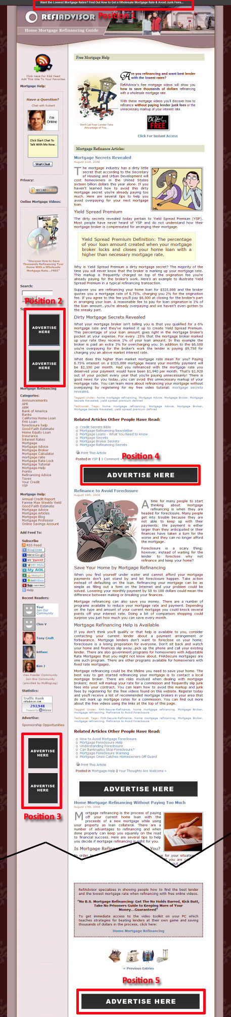 adpositions Mortgage Advertising on RefiAdvisor.com